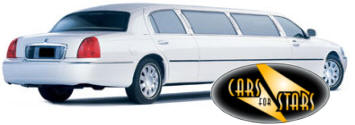 Chauffeur driven white Lincoln Town Car stretched limousine